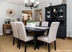 buffet and hutch, as well as the dining room table, with Annie Sloan Chalk Paint in graphite