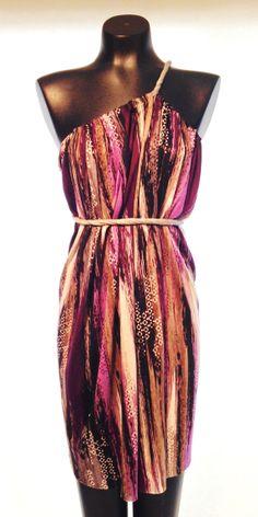 Short Jersey Knit Purple, Black, Grey Brushstroke Print SACK Dress. This dress can be worn in more than 20 different ways, and one size fits all! #shortdress  #wrapdress  #convertible  #custom  #jerseydress #onesizefitsall #ecofashion #ecodress #strapless #convertibledress #madeintheusa #shopsmall #shoplocal #handmade #brushstroke #printed #striped #verticalstripe #purple #plum #lavender #grey #black #white #neutral #tribal #heathergrey #oneshoulder