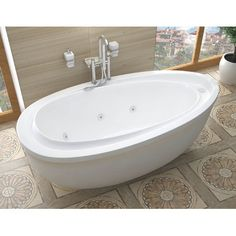 "Spa Escapes Capricia 71"" x 38"" Oval Freestanding Whirlpool Jetted Bathtub with Reversible Drain"