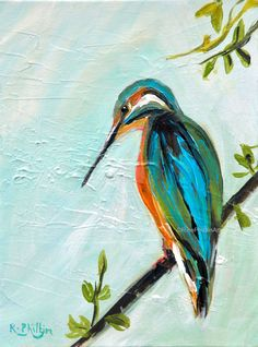 "'Kingfisher on Branch'<p class="""" ... Contemporary Art For Sale, Original Art, Original Paintings, Fish Swimming, Irish Art, Kingfisher, Watercolor Art, Birds, The Originals"