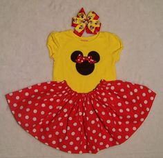 Minnie Mouse Outfit with Hair Bow / Twirl Skirt / Birthday / Disney / Yellow/ Red/ Baby / Girl / Infant / Toddler / Custom Boutique Clothing on Etsy, $68.95