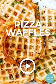 Vegan Dinner Recipes, Vegan Snacks, Mexican Food Recipes, Cooking Recipes, Vegan Pizza Recipe, Waffle Maker Recipes, Waffle Toppings, Waffle Pizza, Waffle Sandwich