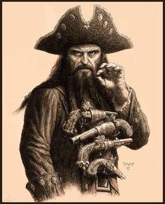 Blackbeard and his brace of pistols.