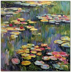 Water lilies by Claude Monet  Hand Painted by FolkcultureGallery