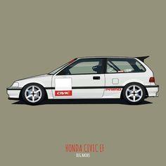 Honda Civic Hatchback, Honda Civic Type R, Civic Ef, Honda Cars, Car Drawings, Jdm Cars, Automotive Design, Dream Cars, Classic Cars