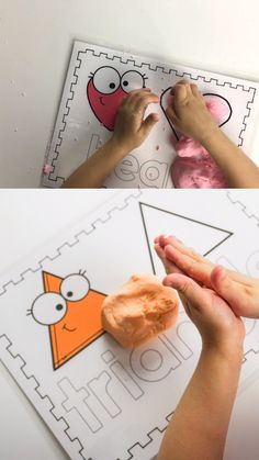 Printable Playdough Shape Mats- free playdough printable sheets for kids to play with! Great learning for toddlers and kindergarteners. Just print and play! Triangle, heart, oval, circle, and more shapes on the PDF. Preschool Learning, Early Learning, Preschool Crafts, Teaching, Toddler Learning Activities, Kindergarten Activities, Toddler Fun, Kids Education, Crafty