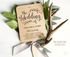 Printable wedding fan program template. This INSTANT DOWNLOAD printable wedding fan program template is affordable and stylish. You can edit and print as many as you need. Print on kraft paper for rustic glam style or white/cream paper for a modern classic style. –––––––––––––––––––––––––––––– SIMPLE & EASY TO USE 1. Download the PDF file(s) 2. Open with Adobe Reader — Free download at: www.get.adobe.com/reader 3. Update editable text fields and save (Your names, wedding date,...