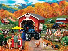 ENTERPRISE LANE   1000 pc Puzzle!   Farm Tractor Barn County  SunsOut