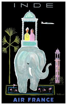 Vintage 1956 Air France travel poster by Bernard Villemot promoting travel to India and depicting an iconic Asian elephant with passengers,india,maharajah,elephant,indian,villemot,air france,travel poster,vintage travel,poster art, mahout,howdah,hindu,taj mahal,asian,sari