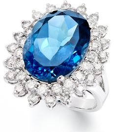 14k White Gold Ring, London Blue Topaz (12 ct. t.w.) and #Diamond (1-5/8 ct. t.w.) Oval Ring