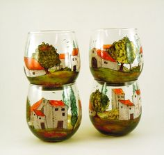 Hand painted stemless glasses  Set of 4  by CreationsdeFlorence, $104.00
