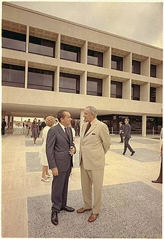 LBJ with Nixon at LBJ's library