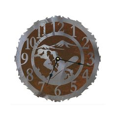 Snowboarder Clock Quarts Movement 12 18 and 28 by CabinExclusive