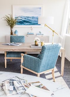 serene blue accents create a beautiful neutral space in this corporate office makeover | emerald studio interior design on coco kelley