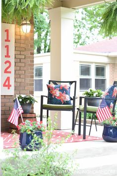 Dated front porch makeover with colorful decor. Great idea for someone on a budget!