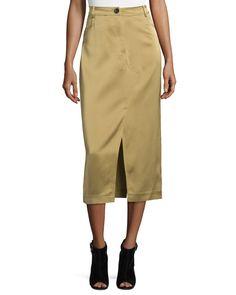 High-Waist Slim Midi Skirt, Camel
