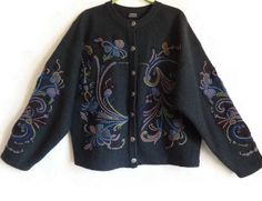 Norwegian Wool Cardigan Embroidered Floral Cardigan With Metal Buttons XL Size…