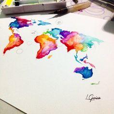 O mundo cheio de cor • -arte já tem dono! . . #mundo #world #aquarela #mapa #map #watercolor #lcjunior