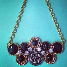 """Vintage buttons and rhinestone necklace """"Dark the Night """" by GirlyCutie is now available! #vintage #vintage_buttons #statement_necklace #handmade #handcrafted #handmade_jewelry #rhinestone #gold_chain #jewelry #antique_jewelry #button_jewelry #chunky_necklace #office_fashion #work_fashion #stylish #modern #unique_jewelry #unique_necklace"""