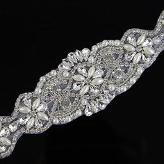 New DIY Crystal Rhinestone Iron on Applique Wedding Sash Belt Bridal Dress Decor