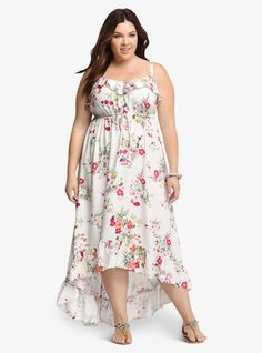 3168149ecf72a A beautiful silk-like white fabric is decorated with a blooming floral  print plus size dress. The drawstring waist and ruffled v neckline flatter  the bodice ...