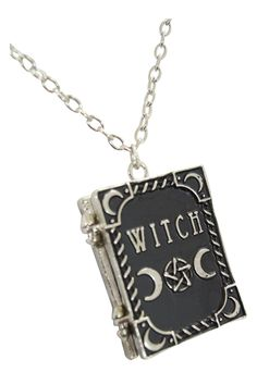 This is an official & original Restyle product. This necklace is in the shape of a book. The front is decorated with magic symbols such as crescent and pentagrams with the word 'Witch' inscribed. The