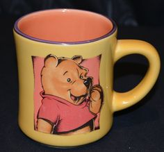 Rare/Vintage Retired Disney Winnie The Pooh Gold Coffee Mug/Cup