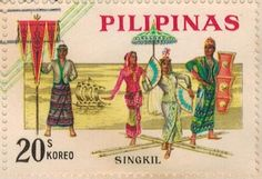 1963 - Philippine Republic Stamps -On September 15, 1963, the Bureau of Posts issued the first Philippine Republic stamps celebrating  Filipino culture:  a se-tenant set of four stamps featuring  popular Philippine folk dances printed by Thomas de la Rue and Co. Ltd., England.