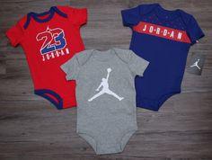 Air Jordan Baby Boy 3 Piece Bodysuit Set ~Blue, Gray, Red & White ~Jumpan ~ 23 ~ #Jordan #BabyBoy #Jumpman