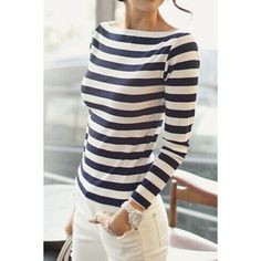 Wholesale Color Block Striped Long Sleeve Boat Neck T-Shirt For Women (BLUE AND WHITE,M), Long Sleeves - Rosewholesale.com