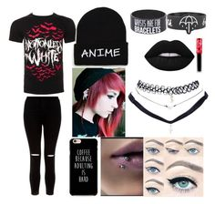 """emo outfit"" by emobandtrashfangirl ❤ liked on Polyvore featuring New Look, Wet Seal and Lime Crime"