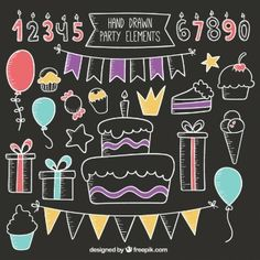 Chalkboard Elements Vectors, Photos and PSD files Chalkboard Doodles, Chalkboard Calendar, Chalkboard Lettering, Chalkboard Signs, Birthday Clipart, Birthday Cards, Happy Birthday, Chalk Design, Chalk Wall