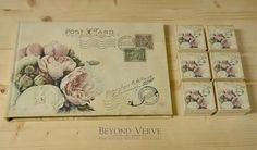 Carte postale guestbook / wishbook and matching favor boxes - Peony bouquet - Vintage wedding stationery - Beyond Verve
