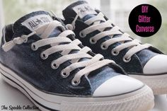How to Make Glitter Converse - you know I don't usually approve of glitter but these would make the bridesmaids sparkle!  teal and purple glitter = beautiful!