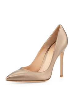Metallic Leather Point-Toe Pump, Pietra by Gianvito Rossi at Neiman Marcus.