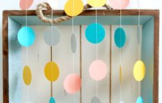 Aqua, Grey, Light Coral, Golden Yellow 12 ft Circle Paper Garland- Wedding, Birthday, Bridal Shower, Baby Shower, Party Decorations. $10.00, via Etsy.