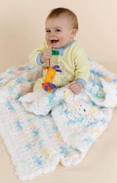 Crochet Contented Baby Blankie Free Pattern from Red Heart Yarns