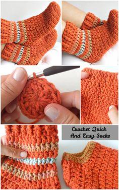 Latest Cost-Free Crochet socks easy Style Crochet Quick And Easy Socks Easy Crochet Slippers, Crochet Slipper Boots, Crochet Slipper Pattern, Crochet Patterns, Slipper Socks, Booties Crochet, How To Crochet Socks, Baby Booties, Crochet Sock Pattern Free