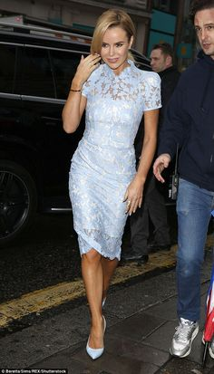 Sky blue pretty: Amanda Holden made for a fresh summery addition to proceedings, the BGT judge rocking up to the red carpet in a gorgeous pale blue lace dress