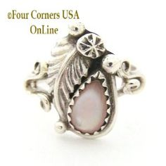 Size 5 Pink Mother of Pearl Shell Ring Native American Navajo Silver Jewelry Closeout Final Sale Native American Rings, Native American Indians, Four Corners Usa, Sterling Silver Rings, Silver Jewelry, Final Sale, Navajo, Nativity, Shells