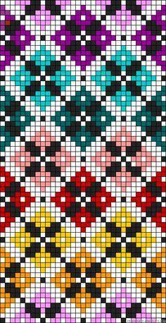 Diamonds plaid rainbow perler bead pattern Would make a great cross stitch patte. Diamonds plaid rainbow perler bead pattern Would make a great cross stitch pattern Bead Loom Patterns, Beading Patterns, Embroidery Patterns, Crochet Scarf Diagram, Crochet Chart, Crochet Pattern, Cross Stitching, Cross Stitch Embroidery, Hand Embroidery