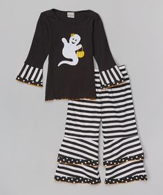 Black & White Ghost Tee & Stripe Pants - Infant, Toddler & Girls #zulily #zulilyfinds