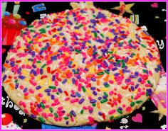 SPRINKLE COOKIES SHOULD BE *BIG* …………GIVES YOU MORE ROOM FOR SPRINKLES!! beat:1 1/3c. soft butter1 1/2c. sugar Add:2 eggs1 tsp vanilla Add:3 3/4c. flour2 tsp baking powder1 tsp salt Preheat oven to 350 and line cookie sheet with parchment paper. Roll dough into golf ball size balls (I like to use a regular size ice …