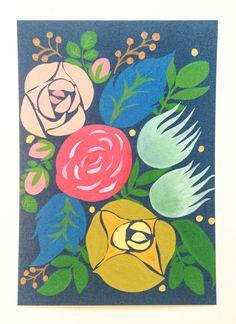 Flower-pattern post card (set of 5) by MEIKOILLUSTRATION on Etsy
