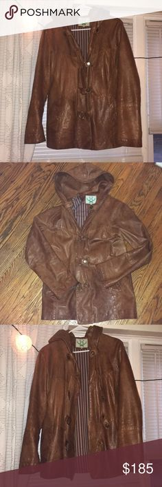 Hooded Brown Italian Leather Jacket Amazing lined, soft leather jacket. Great big hood too. Gently used, waterproofed with mink oil. Will fit M/L Vera Pelle Jackets & Coats
