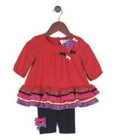 Take a look at this Red Ruffle Amy Tunic & Leggings - Infant, Toddler & Girls by Joe-Ella on #zulily today!