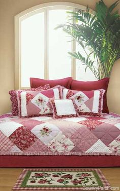 The Country Porch features the Scarlett quilt, pillow sham and bedding accessories from C&F Enterprises. Rag Quilt, Quilt Bedding, Bedding Sets, Quilt Pillow, Chic Bedding, Country Quilts, Country Porches, Southern Porches, Red And White Quilts