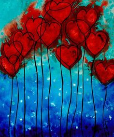 Hearts On Fire - Romantic Art By Sharon Cummings Greeting Card for Sale by Sharo. - Hearts On Fire – Romantic Art By Sharon Cummings Greeting Card for Sale by Sharon Cummings – - Heart Painting, Fire Painting, Coffee Painting, Valentines Art, Valentine Hearts, Fire Heart, Hearts On Fire, Inspiration Art, Art Lessons