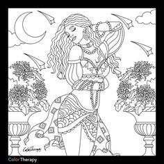 Girls sitting on a bench coloring page | Color Therapy app ...