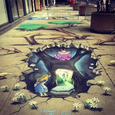 Alice in wonderland chalk art I love street art😍 Chalk Drawings, 3d Drawings, Fantasy Kunst, Dark Fantasy Art, Fantasy Films, Banksy, Chiara Bautista, 3d Chalk Art, Art 3d